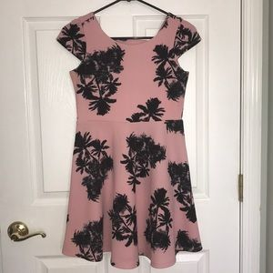 Girls Palm Tree Skater Dress with Cutout in Back
